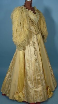Beaded Yellow Silk Brocade Ball Gown With Huge Chiffon Balloon Sleeves - Mme.  Elise, Boston, USA  c.1890's