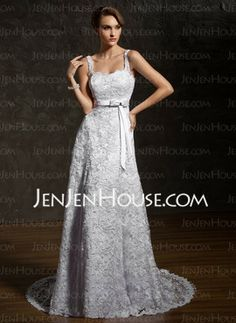 A-Line/Princess Sweetheart Court Train Satin Lace Wedding Dresses With Sashes Crystal Brooch (002011743)