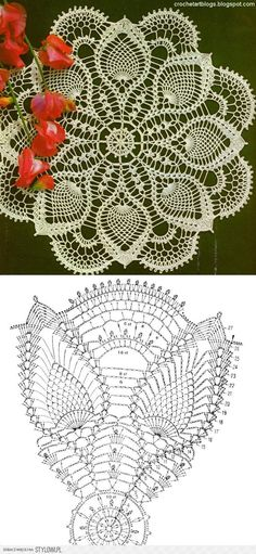 Crochet Lace Pineapple Doily and Chart