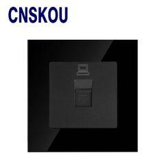 Computer Internet RJ45 Data Socket Jack CSNKOU Electric  Socket  Wallpad Data Socket Black Crystal Glass Switch 86*86mm