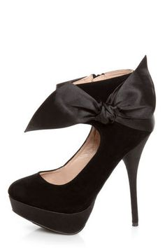 The perfect fit for any holiday soiree - Carissa 13 Black Side Bow Ankle Cuff Platform Pumps