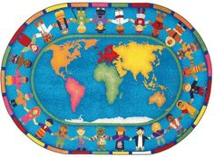 Joy Carpets Hands Around the World Classroom Rug 5'4 x 7'8 Oval