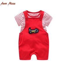>> Click to Buy << baby boy clothing baby Boys Girls baby set Striped T shirt + Overalls Red and Navy baby suit #Affiliate
