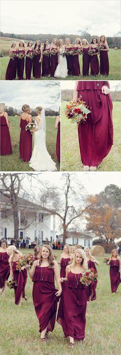 Long column bridesmaid dress,Spaghetti Strap bridesmaid dresses,Cheap chiffon bridesmaid dress,Burgundy bridesmaid dresses,PD20056 - Thumbnail 2