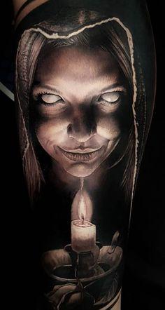Evil Tattoos, Creepy Tattoos, Hand Tattoos, Sleeve Tattoos, Dark Art Tattoo, Gothic Tattoo, Creepy Horror, Horror Art, Cover Up Tattoos