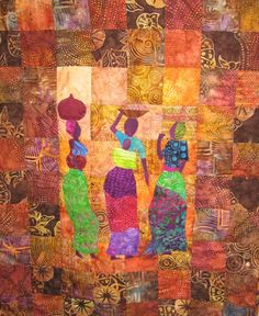 Kalahari Quilts - People Shared by African Quilts, African Fabric, African Art, African Culture, Watercolor Quilt, Elephant Quilt, Modern Quilt Blocks, Mini Quilts, Scrappy Quilts