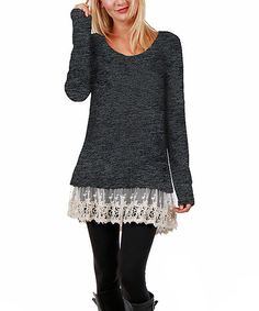 Another great find on #zulily! Deep Gray Lace-Trim Scoop Neck Tunic - Plus #zulilyfinds