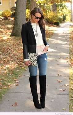 Black boots, jeans, blouses and blazer