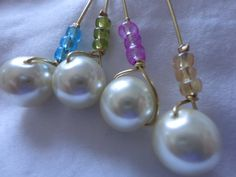 4 Stem Wine Charms Pearl by ThereIsNoOneLikeYou on Etsy, $6.00