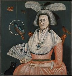 Lady with Her Pets (Molly Wales Fobes) Rufus Hathaway Date: 1790 Medium: Oil on canvas. This has so inspired me to do a folk style self-portrait. American Wings, Art Populaire, Poster Prints, Art Prints, Art Design, Art Nouveau, Metropolitan Museum, Lady, Les Oeuvres