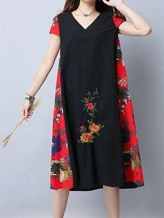 Vintage Embroidered V-Neck Short Sleeve Women Dresses