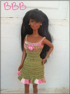 Barbie Crochet Clothes Olive Green with by BarbieBoutiqueBasics