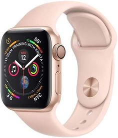 Apple Watch Series 4 (GPS + Cellular, - Gold Aluminium Case with Pink Sand Sport Band (Renewed) Iphone Se, Apple Iphone, Buy Apple Watch, Apple Watch Series, Macbook, Gold Case, Sport Armband, Swiss Army Watches, Sport Watches