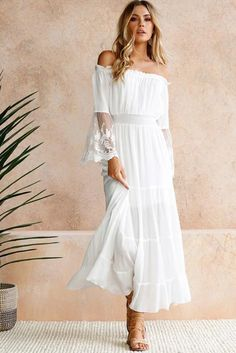 Chic Off Shoulder Embroidered Flared Sleeve White Lace Maxi Dress, Shop for cheap Chic Off Shoulder Embroidered Flared Sleeve White Lace Maxi Dress online? Buy at Modeshe.com on sale! White Lace Maxi Dress, White Lace Wedding Dress, Sexy Maxi Dress, Maxi Dress With Sleeves, The Dress, Sexy Dresses, Plain Dress, Tulle Lace, Lace Dresses