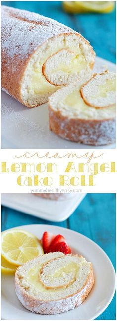 Creamy Lemon Angel Cake Roll {+ 21 Baby Shower Desserts} -- A light angel cake roll filled with a creamy lemon filling; makes an impressive (lighter) dessert and uses NO butter or oil! 13 Desserts, Lemon Desserts, Lemon Recipes, Sweet Recipes, Delicious Desserts, Dessert Recipes, Grapefruit Recipes, Light Desserts, Rib Recipes