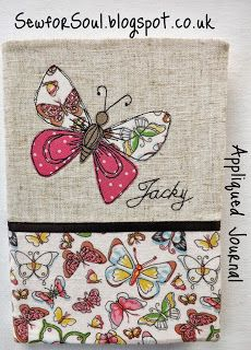 SewforSoul - Fabric journal cover. Free-hand machine embroidery with applique butterfly