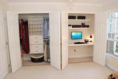 Build Your Desk In A Closet: Inspiring Desk In Closet Ideas Two Separate Closet Wardrobe Doors Computer ~ hbwygs.com Bookshelves Inspiration