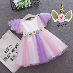 Buy toddler girls Unicorn dress baby girl rainbow colors tulle dress with unicorn headband lovely kids sundress for unicorn party Unicorn Dress Toddler, Toddler Dress, Toddler Girls, Unicorn Baby Outfit, Baby Girls, Baby Girl Party Dresses, Little Girl Dresses, Baby Dress, Dress Girl