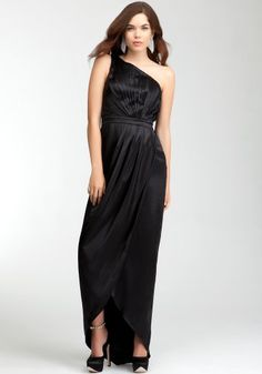 bebe One Shoulder Silk Wrap Gown – Rami Kashou « Dress Adds Everyday