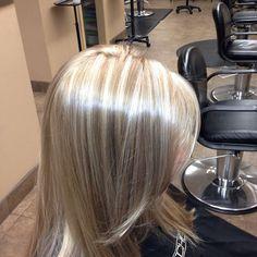 shiny platinum blonde highlights #highlights #hairsalon #sandiego