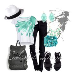 """""""A Darker Shade of Aqua Feathers"""" by jokerxjester on Polyvore"""