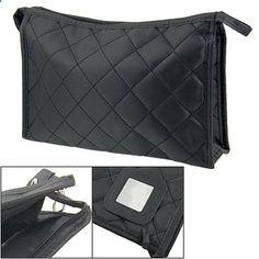 Leegoal Women Zipper Closure Rectangular Makeup Purse Bag Black. View website for more description.