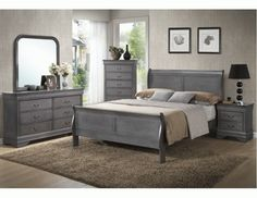 Solid Wood Sleigh Bedroom Set - Gray