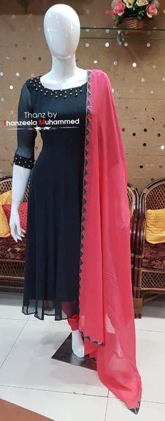 Thanz's couture ( Long Dress Design, Dress Neck Designs, Kurti Neck Designs, Fancy Blouse Designs, Kurta Designs Women, Stylish Dress Designs, Designs For Dresses, Stylish Dresses, Party Wear Indian Dresses