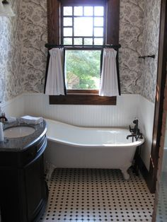 Craftsman bathroom.  Cool it's not super-sized!   It's small,convenient, practical and wonderfully quaint.