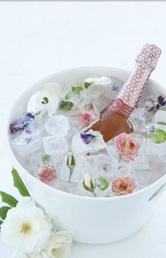 Champagne with Flower Ice Cubes.