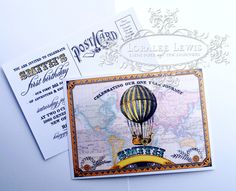 Around the World Vintage Postcard Invitation for Baby Smith going out today!  From $1.95 at www.loraleelewis.com. #party #birthday #invitation #partypaper #invite #firstbirthdayboy #savethedate #postcardinvitation #steampunk #birthdayinvitation #invite