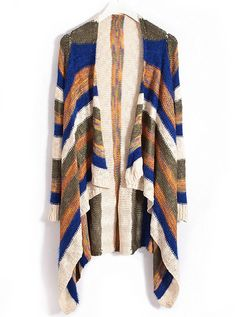 Blue Yellow Striped Sequined Asymmetrical Cardigan - Sheinside.com