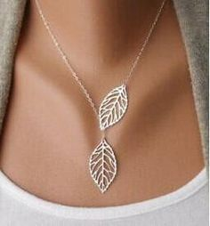 New Gold And Sliver Two Leaf Pendants Necklace Chain multi layer statement necklaces - Hespirides Gifts - 3