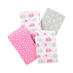 """An essential for mom's newborn checklist, these soft cotton blankets with pink and grey elephant print are useful for nearly all your baby girls day-to-day needs. They are perfect for everything from swaddling and stroller riding to cuddling and burping.  Each set includes four large 30"""" x 40"""" blankets, so you will always have a clean one handy, even with the messiest baby boy. Pssst! They also make great newborn baby gifts for your baby registry and baby showers!<br><br>Parents and…"""