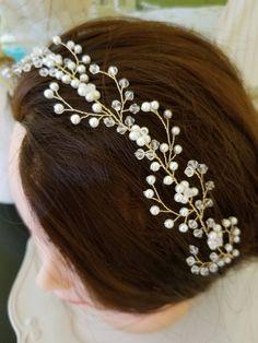 Crystal headpiece, pearl headpiece, bridal headpiece, crystal hair vine, pearl hair vine, bridal hair vine, wedding hair jewelry by DebMCreations on Etsy