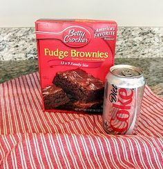 Brownies made with diet soda, no eggs, water or oil. Recipe calls for a full can, but half a can works as well. only 105 calories! Got to try this!