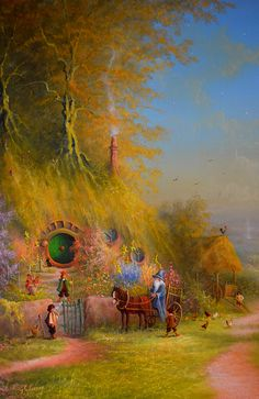 Arrival of the Wizard by Joe Gilronan. Oil on canvas. Hobbit Art, O Hobbit, Hobbit Hole, Jrr Tolkien, High Fantasy, Fantasy Art, Fantasy Landscape, Middle Earth, Lord Of The Rings
