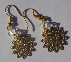 Holiday Earrings Golden Flakes by GemRio on Etsy, $8.00