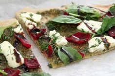 Beet, pesto & goat cheese flatbread with basil & dill { whole grain} Recipe on Food52, a recipe on Food52