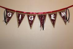 Gig Em Texas Aggies Collegiate Football Banner by ReadinginRags, $29.98