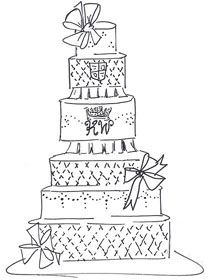 Fantasy Royal Wedding Cake Sketches Pink Box