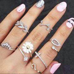 2015 New Cute Sweet Style Crystal Rhinestone 3pcs\set Leaf  Crown Cross Midi Knuckle Finger Joint Rings women