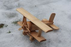 Handcrafted Eco Wooden Airplane Bi-plane Gift for by WoodenMotors