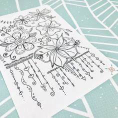 Full Page A5 Floral Doodle Coloring Sticker by BohoBerryPaperie on Etsy https://www.etsy.com/listing/494438919/full-page-a5-floral-doodle-coloring