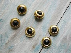 Retro Vintage Buttons Brass Black Eyed Buttons by LeChatCrochet