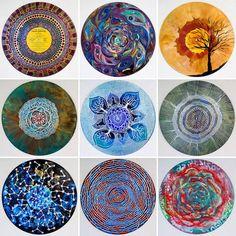 Art Therapist Paints Mandalas On Vinyl Records Vinyl Record Projects, Vinyl Record Art, Vinyl Records, Record Decor, Record Wall, Mandalas Painting, Mandalas Drawing, Mandala Art, Vinyl Diy