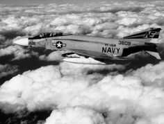 An F-4J Phantom II of Fighter Squadron VF 154 off the carrier Ranger CVA 61 pictured in flight over the Sea of Japan on January 10, 1970