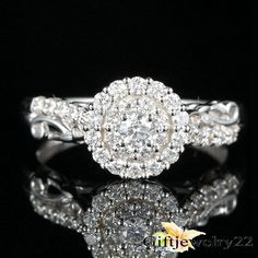 1.30 Ct Round Cut D/VVS1 Diamond Engagement Wedding Ring In 14K White Gold #SolitaireWithAccents