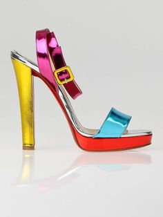 Christian Louboutin Multicolor Patent Leather Echasse 120 Sandals