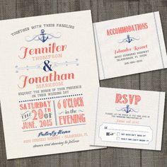 Nautical Wedding Invitation Set with RSVP card by partymonkey
